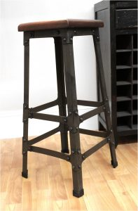 Bar Stool with Wooden Seat & Riveted Iron Legs for Home Bar Furniture or Business