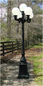 Outdoor 5 Arm Pole Light Victorian Replica Vintage Commercial or Home Classic 9.5' Tall