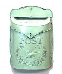 Stamped Tin Letter Mail Box Pressed Embossed Post Office w Sparrow Bird
