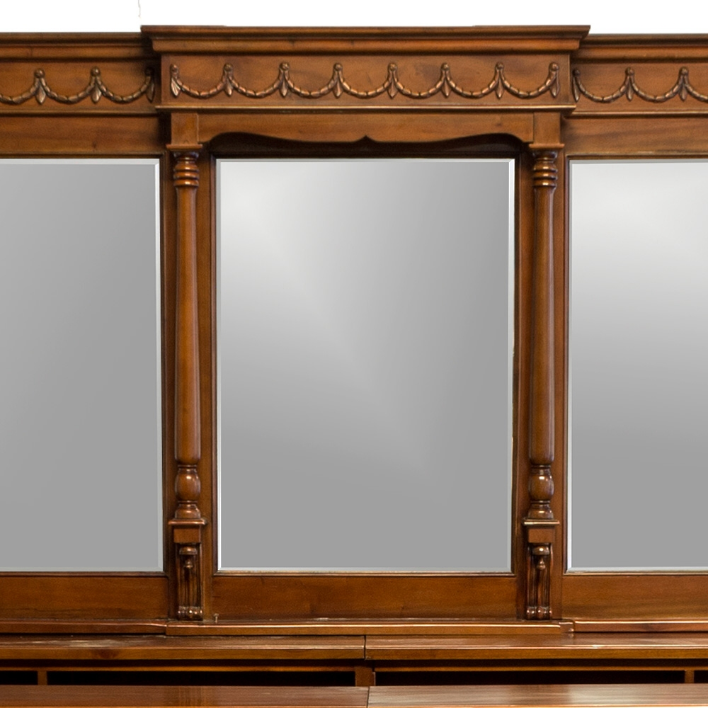 16' Victorian Mahogany Mirrors Back and Front Home Bar Tavern Furniture