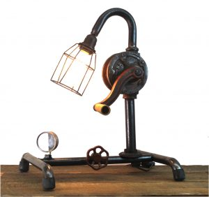Steampunk Industrial Factory Style Crank Table Lamp w/ Real Parts