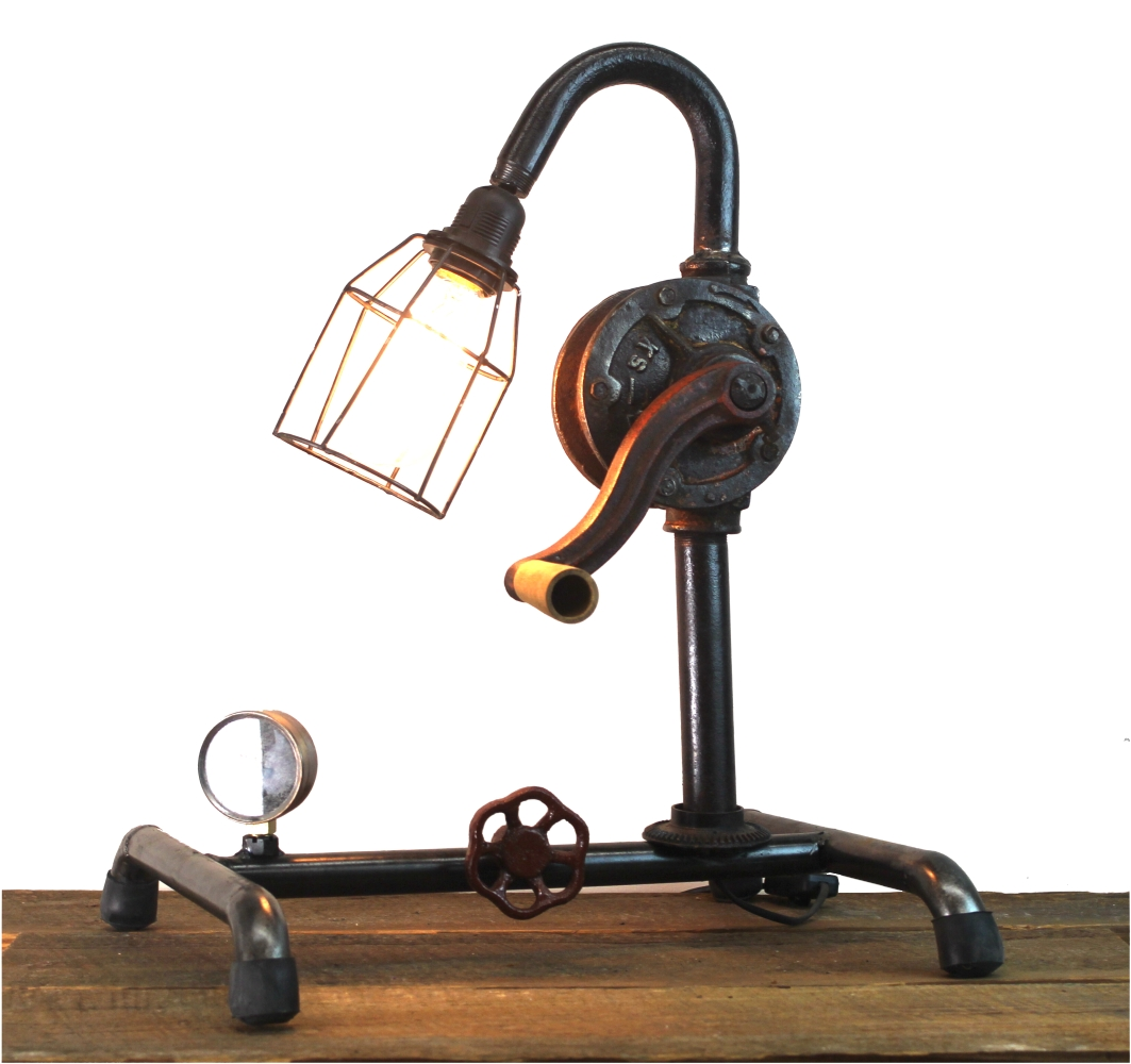 Steampunk Industrial Factory Style Crank Table Lamp w/ Real Parts 1