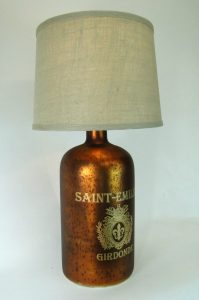 Copper MERCURY GLASS Antique French Bottle LAMP LIGHT w Burlap Shade, Old Style
