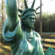 Metal Statue of Liberty 7' TALL Scupture LIGHTED Electrified Flame Glass Shade
