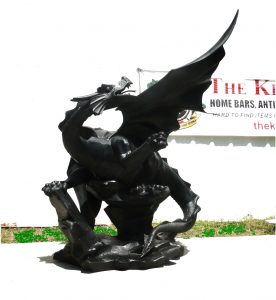 Huge Dragon Statue Sculpture on Faux Rock Big Giant Eragon 7ft