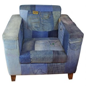 Old High Designer Style Vintage Jeans Club Chair Furniture from The Kings Bay