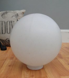 "Big WHITE PLASTIC BALL Outdoor Shade Light Fixture Round 12"" Dia. 4"" Fitter Globe"