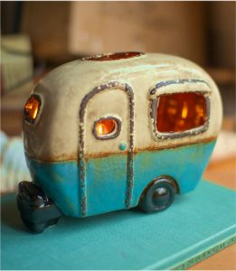 Mini Retro Camper Night Light Lite Old Airstream Ceramic Hand Made Gift