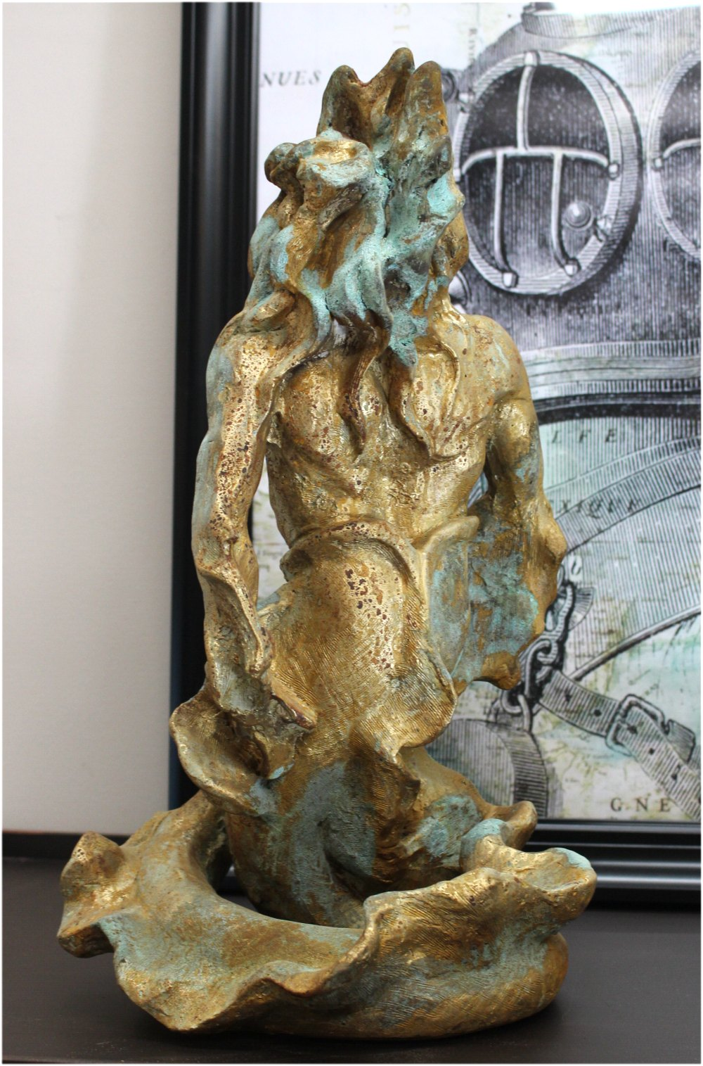 Poseidon Gold Leaf & Tiffany Green Merman Sculpture with Beard, Waves & Flowing Hair