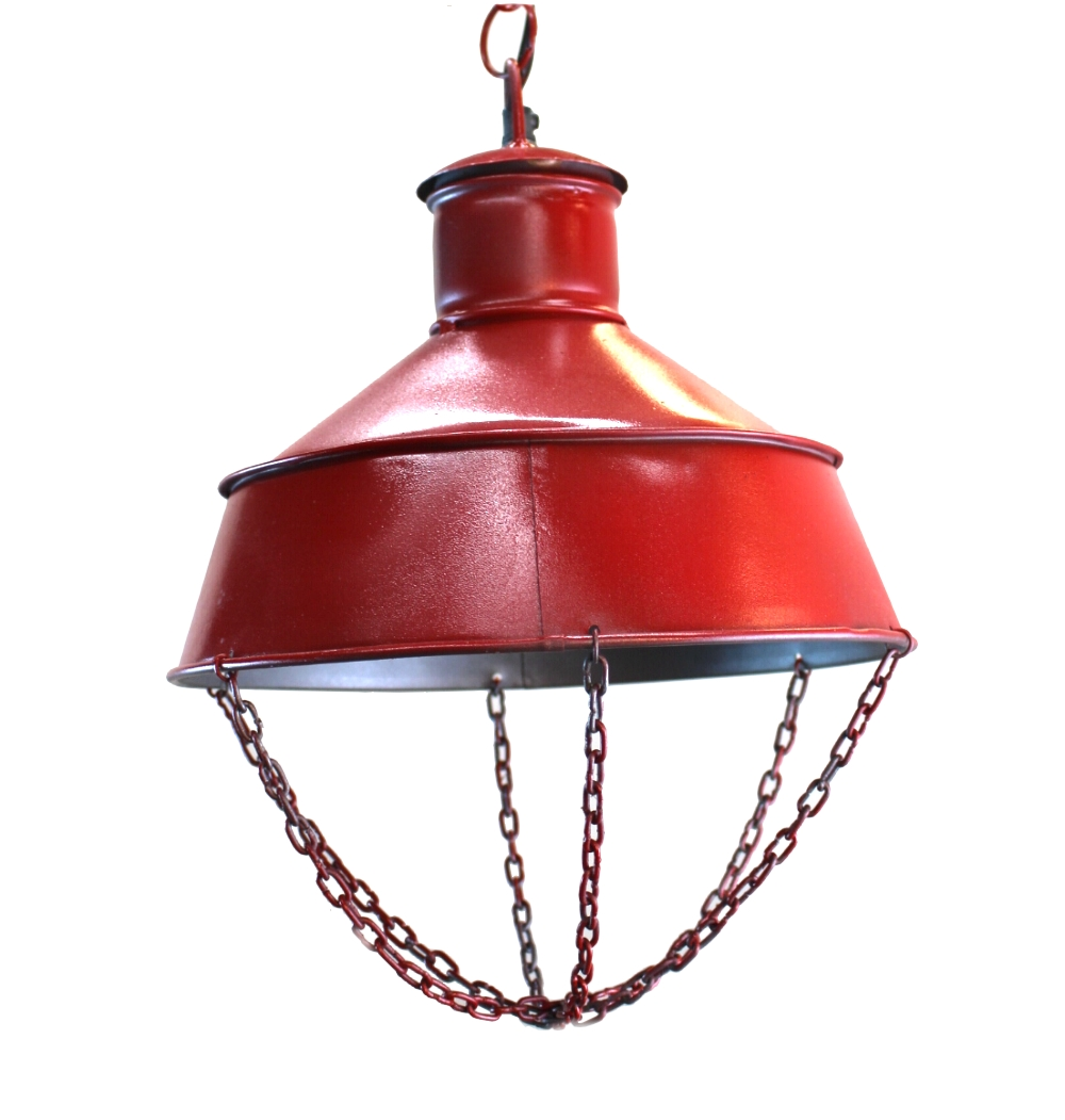 Red Industrial Chandelier: Red Factory Industrial Pendant CEILING LIGHT FIXTURE, Old