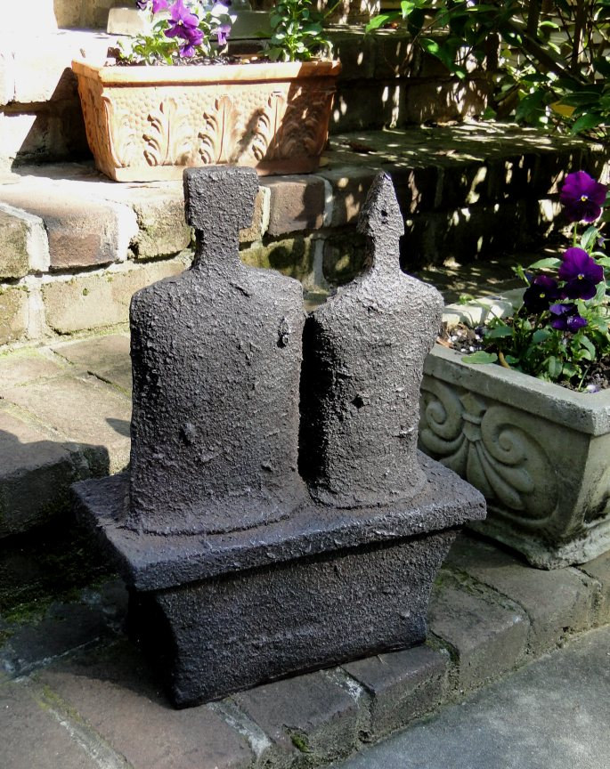 Man and Woman Textured Faux Lava Stone STATUE Sculpture, Designer ART