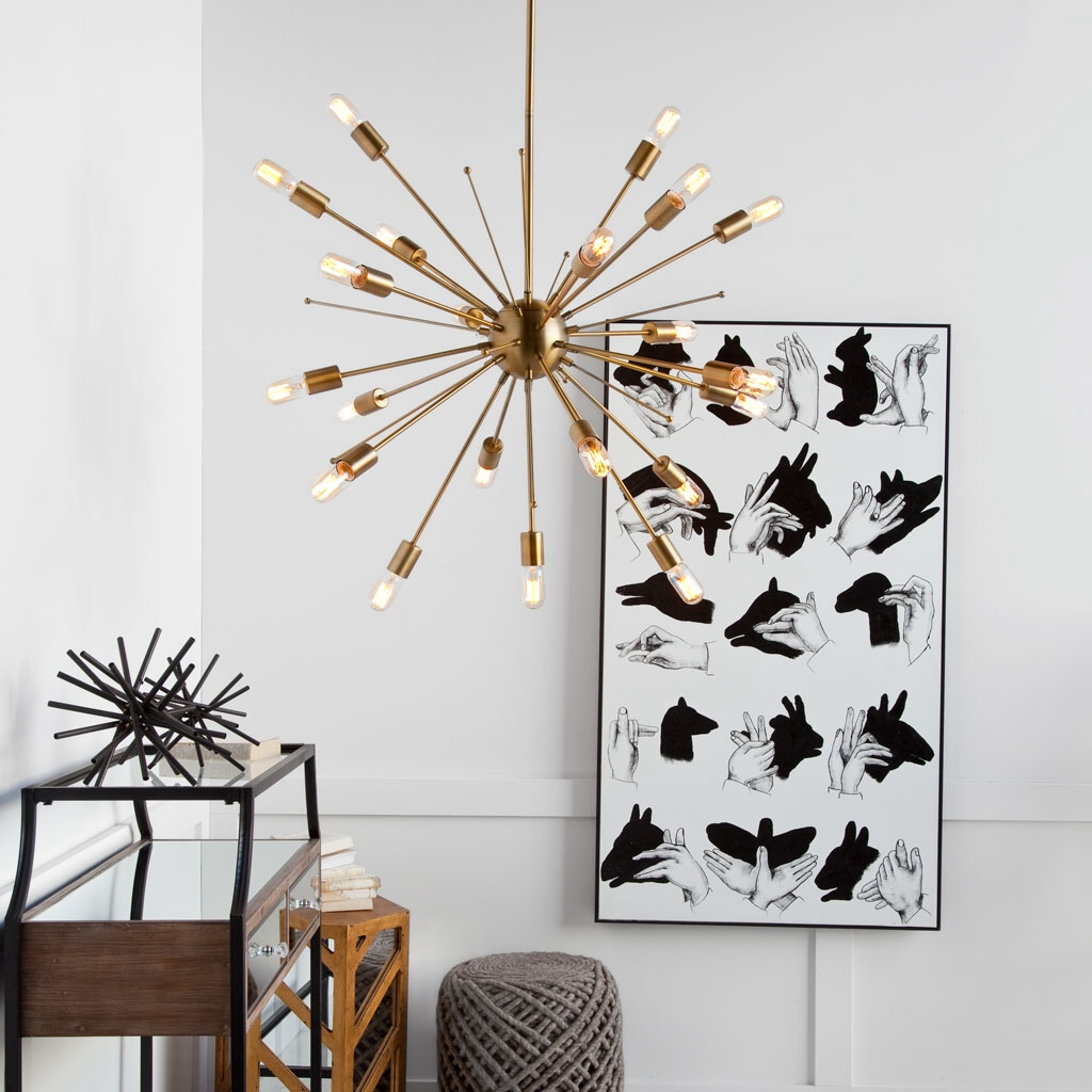 Space Age Starburst Sputnik Ceiling Chandelier in Brass Finish Modern Contemporary Light