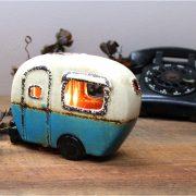 Mini Retro Camper Night Light Lite Old Airstream Ceramic Hand Made Gift