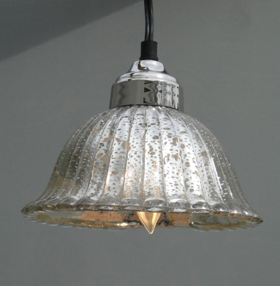 Mercury glass pendant light lamp ceiling mounted fixture for A lamp and fixture