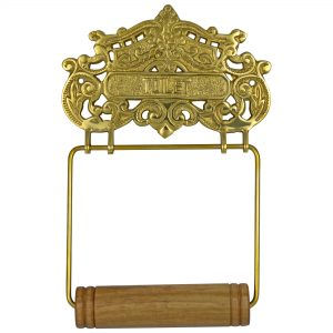Lovely CAST BRASS Victorian or French Style Wall Mounted Toilet Paper Holder Antique Replica
