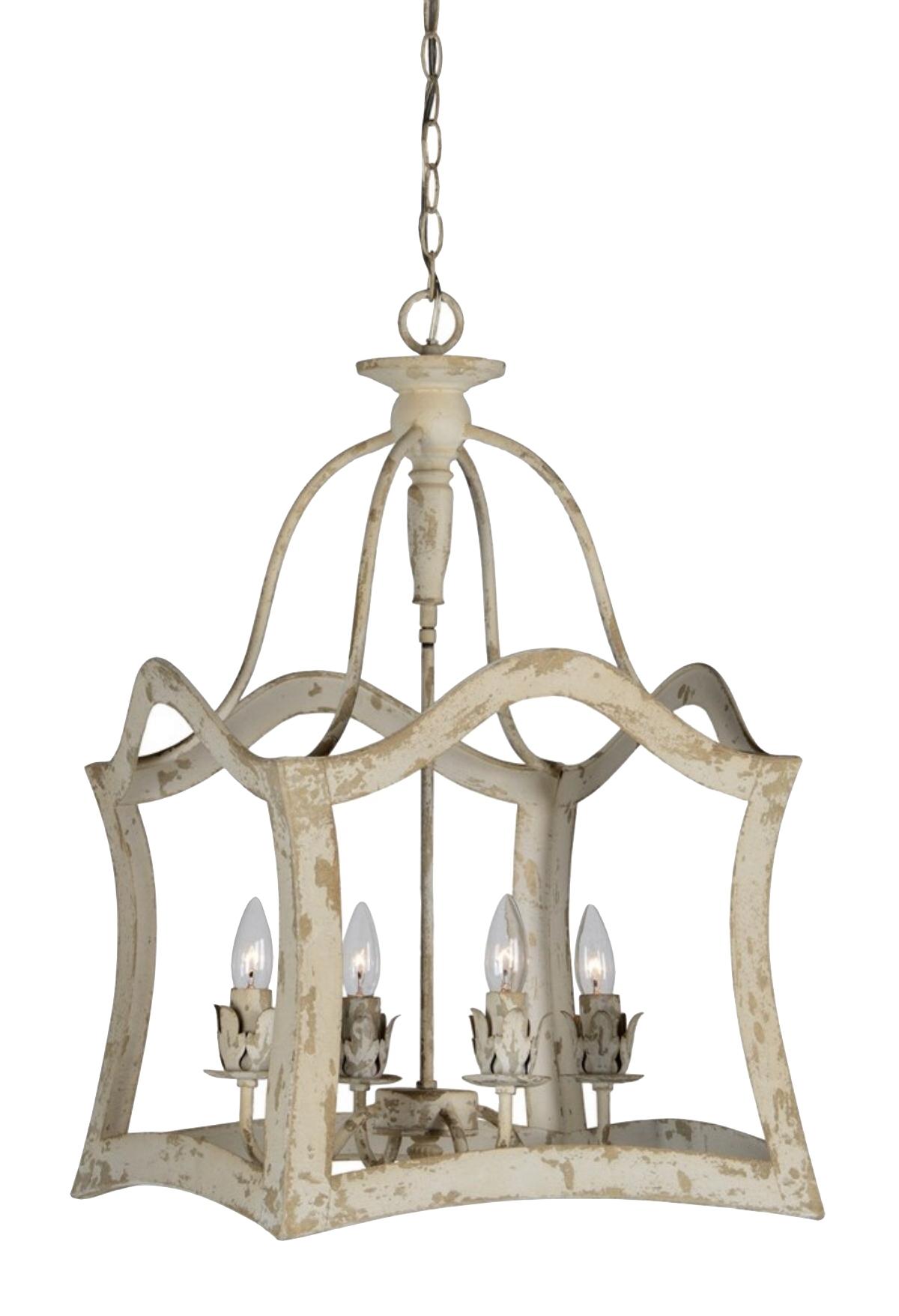 Wood Framed Aged Aubrey Chandelier Antique Style Light 1