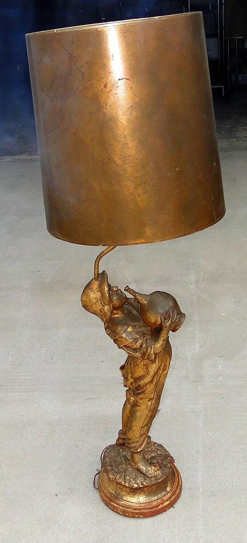 HUGE Boy with Jug Victorian Lamp Light Fixture, Old Vintage w Gold Leaf Shade
