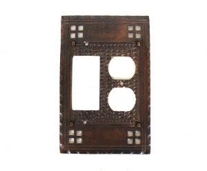 Arts and Crafts or Mission Brass Duplex Outlet and Rocker Switch Plate Oil Rubbed Bronze