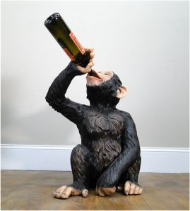 Drinking Monkey Statue For Wine Bottles Beer Ape Sculpture Fun Biscaretti
