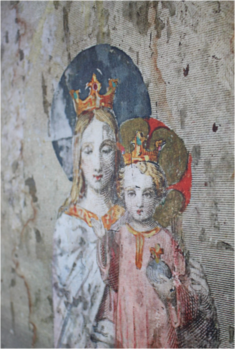 Wood Wall Art With Virgin Mary And Angels Cherubs In