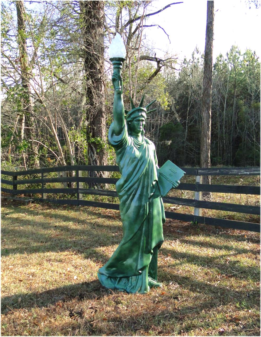 Metal Statue of Liberty 7′ TALL Scupture LIGHTED Electrified Flame Glass Shade 1