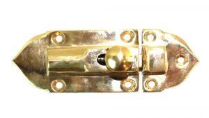 Surface Mount Spring Brass Cupboard Latch, Vintage Replica Hardware