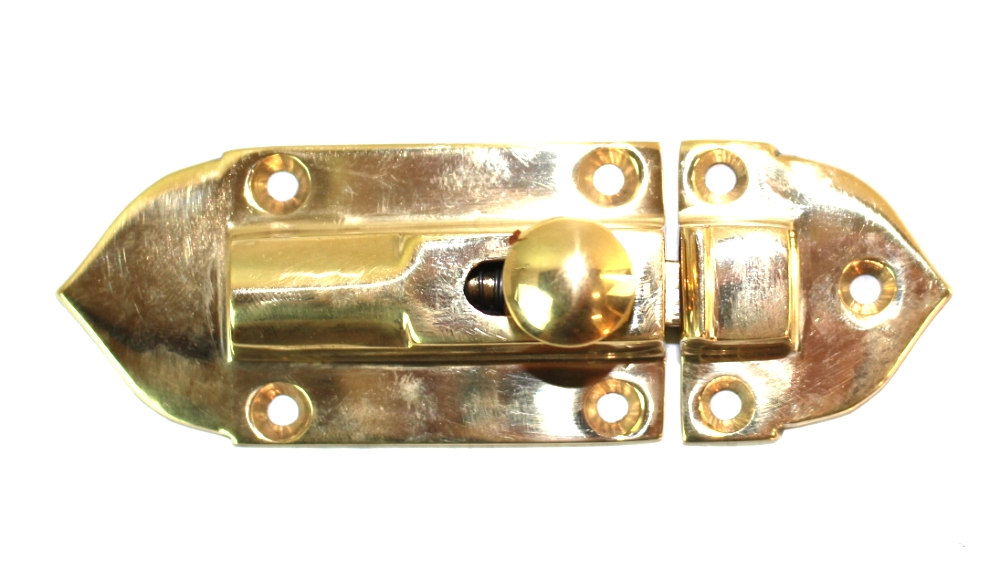 Surface Mount Spring Brass Cupboard Latch, Vintage Replica Hardware 1