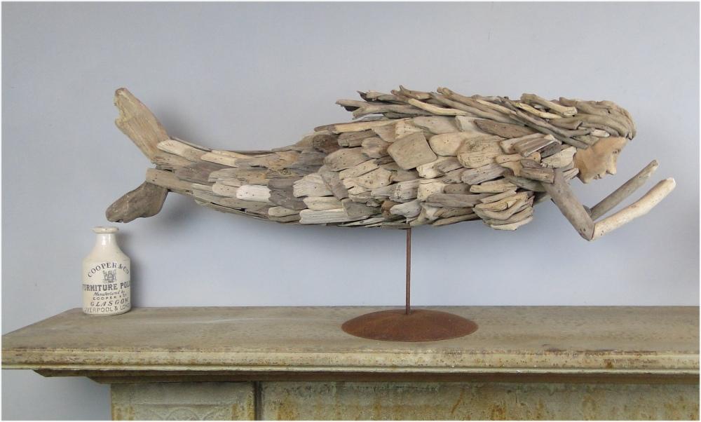 Pieces of Driftwood Hand Crafted MERMAID SCULPTURE Folk Art on Pedestal Big