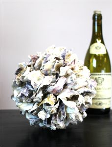 Oyster Shell Ball Natural Hand Made Beach Nautical Home Goods Accent Big