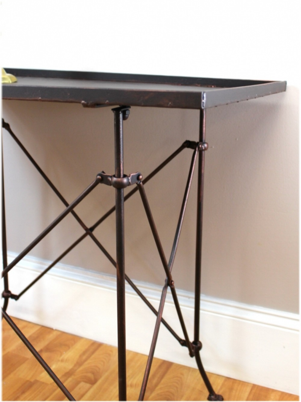 Old Bronze Rectangular Claw Foot End Table With British