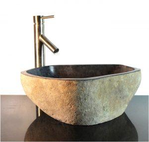 River Stone Granite Boulder Vessel Sink Counter Top Bathroom Bar wbt13