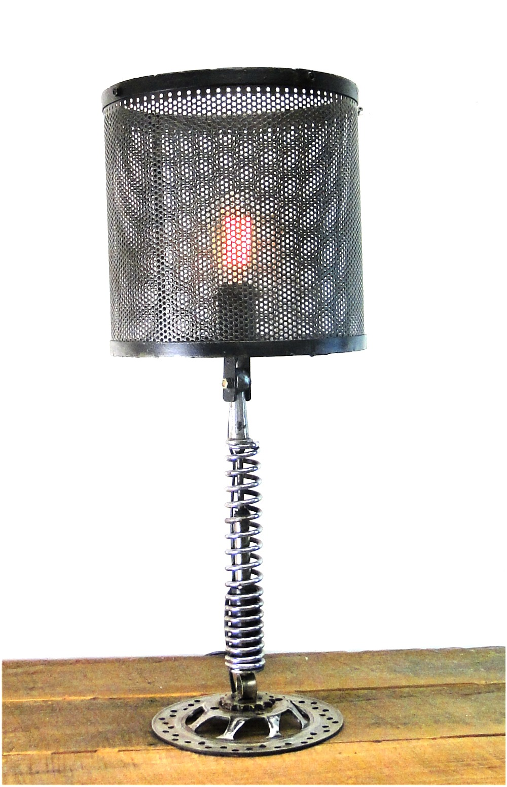 Hand Crafted Clutch and Spring Motorcycle End or Side Table Lamp 1