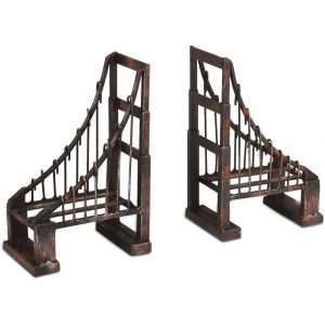 Suspension Brooklyn San Francisco Style Bridge Bookends Aged Finish