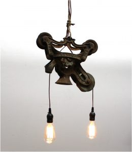 Barn Trolley Cast Iron Antique Original Farm Light Repurposed Rust Chandelier