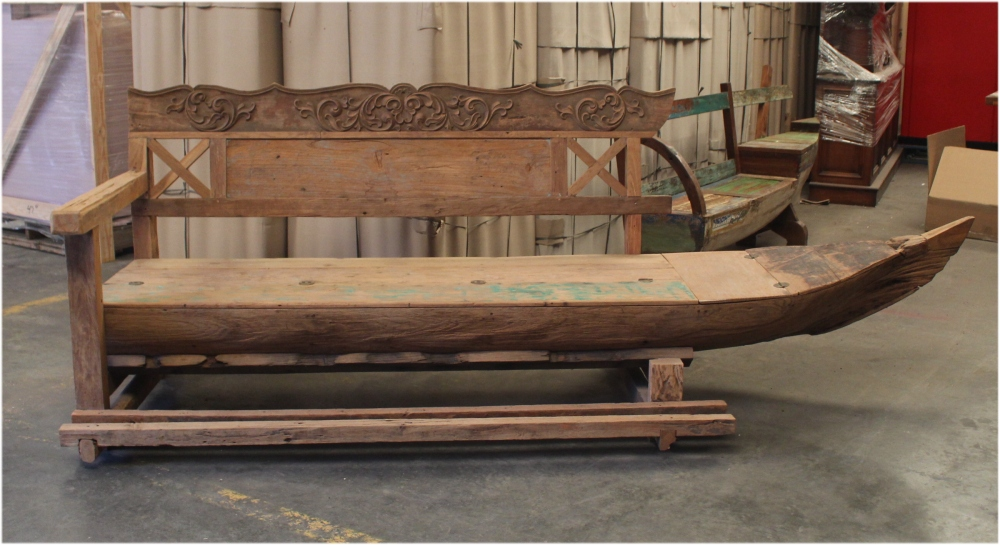 Antique Wooden Boat Turned into Bench Seating with Old Paint From South Seas