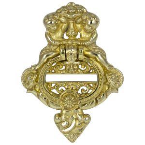 Large Heavy CAST BRASS DOOR KNOCKER Vintage Victorian Antique Hardware Style