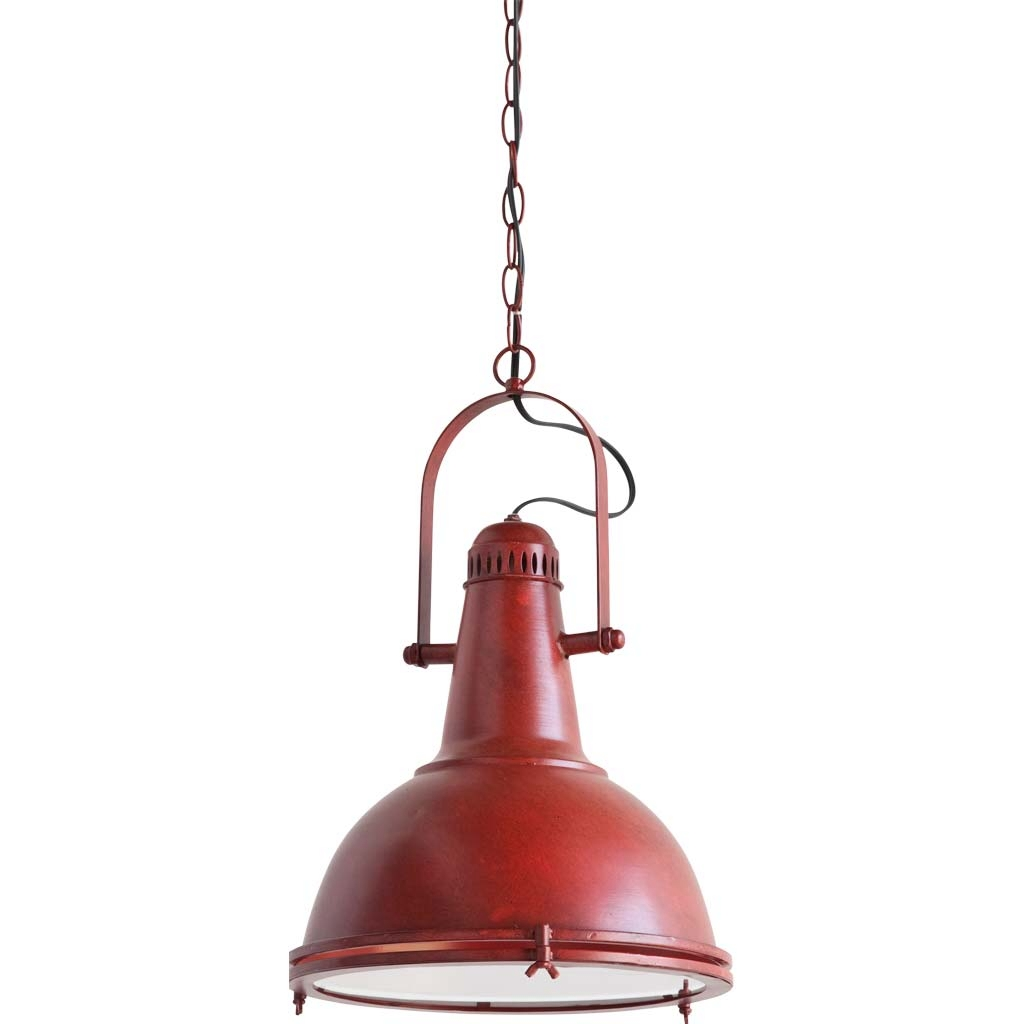Aged Red Pendant Drop DOCK Light Ceiling Fixture for Home or Commercial Location 1