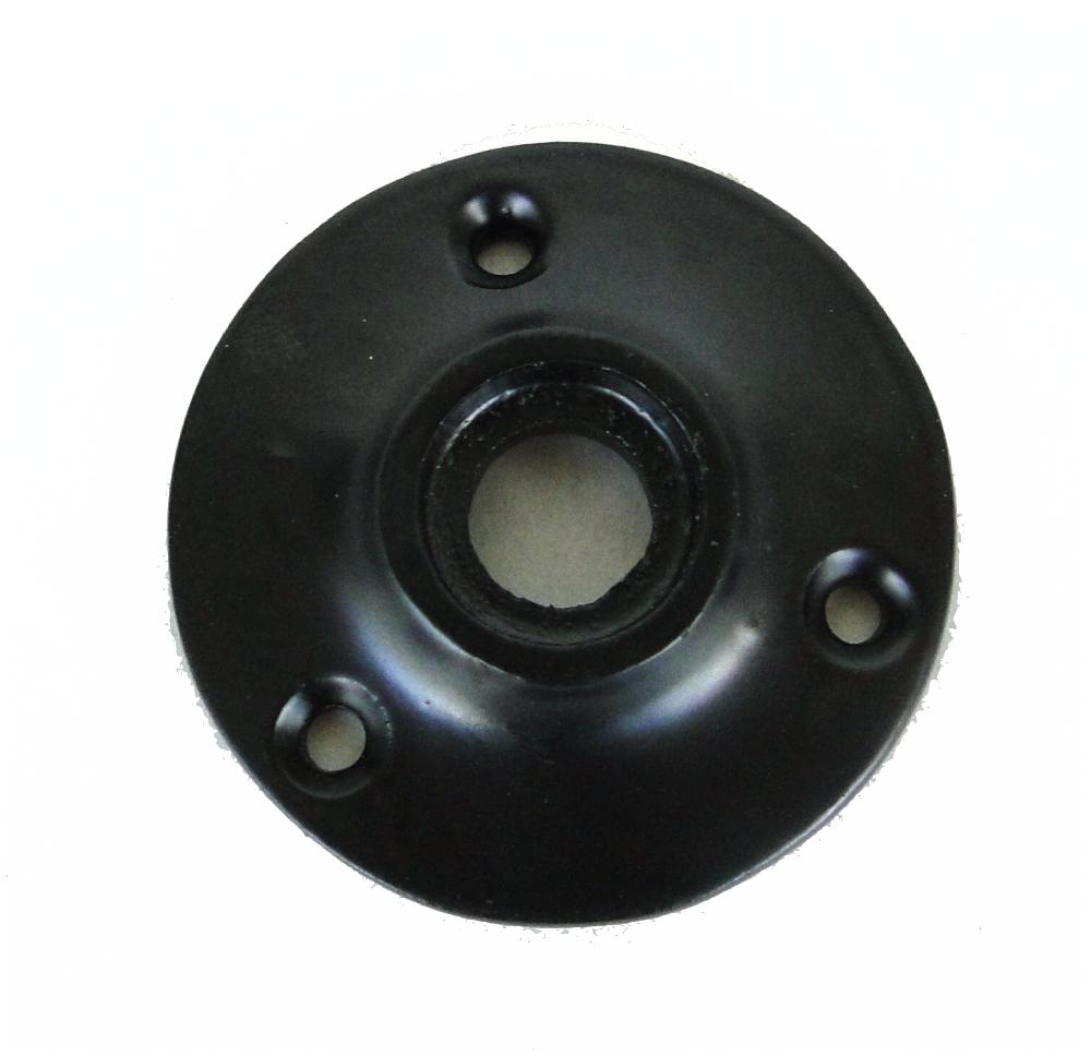 Small Door Rosette of Cast Iron w black base, great for porcelain hardware, renovators supplies 1