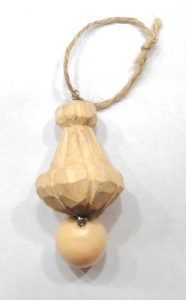 Hand Carved Wooden Tassel for Decor Accent or Light Fixtures Pine w Ball End