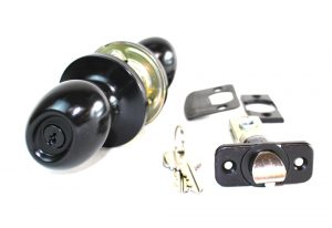 Oval Privacy Door Lock Set in Oil Rubbed Bronze w Latch & Keys, Entrance Exterior