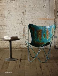 Blue Aged Iron Butterfly Chair in Retro Aged Finish Rustic PAIR