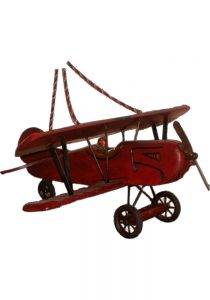 Big Old Style Wood Hanging Airplane, Bi-winged Snoopy Red Baron Plane w Rubber Wheels