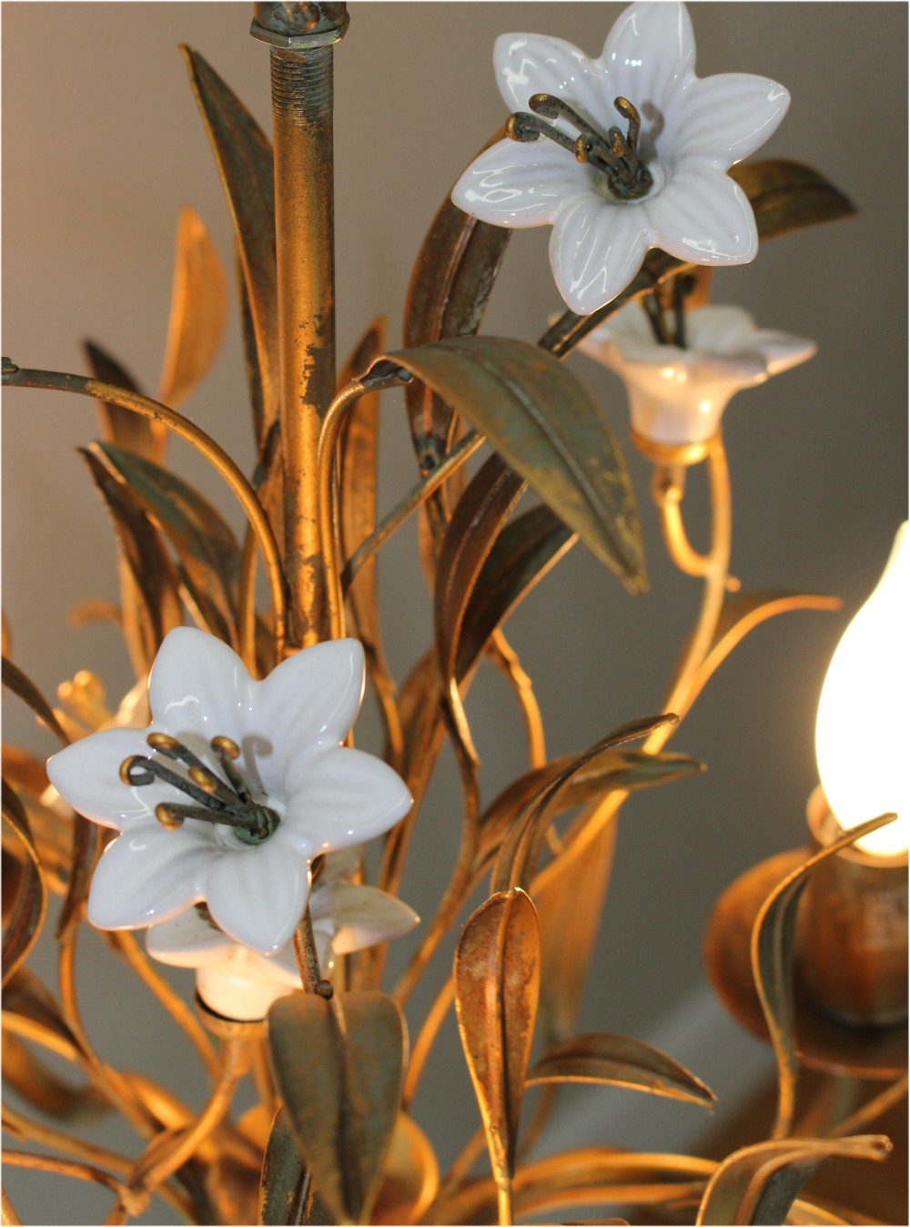 Antique Early French Chandelier with Porcelain Flowers & Gold Leaf Metal Old Reprodution