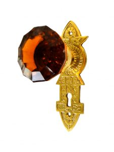 Victorian Reproduction Door Hardware Passage Set Jersey with amber glass knob pair