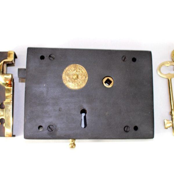 Wrought Iron Left Hand Carpenters Rim Lock, Old Home REPLICA Restoration Hardware