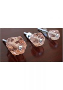 """1.25"""" PINK Glass Cabinet Knobs Pulls Vintage Dresser Drawer Hardware 25 pcs"""