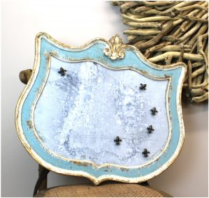 Cottage French Country Chic Antique Replica Wall Magnet Board in Aged Painted Blue & White