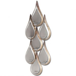 Danish Modern Tear Drop Wall Art Glass and Gold Aged Metal Pillar Candle Fixture