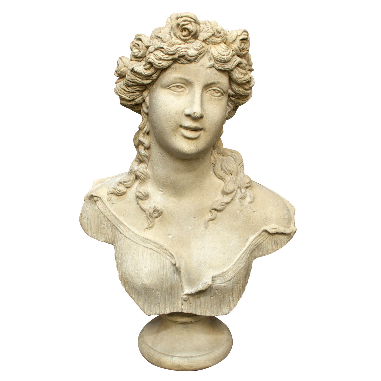 Big Faux Marble Sabine Roman Bust Statue Old Italian Stone Art Sculpture