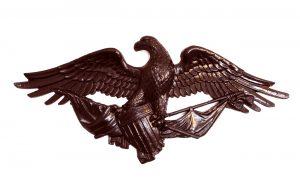 Big DARK Bronze American Eagle Plaque Door Top Winged Old Style
